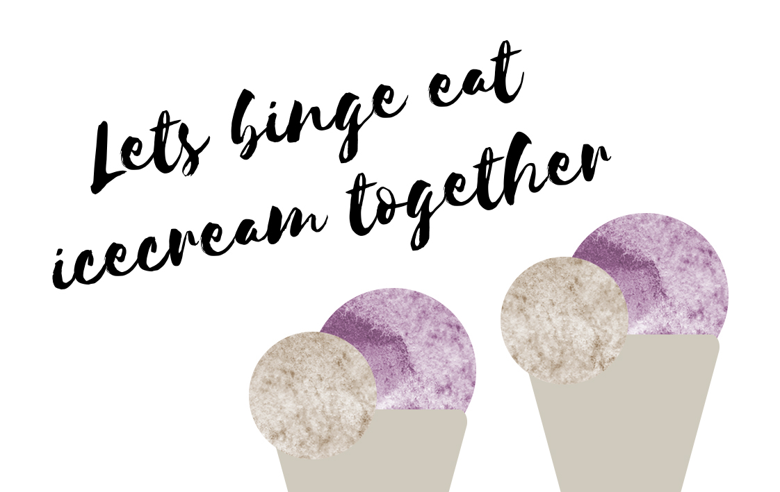 Let's Binge Eat Ice Cream Together Card